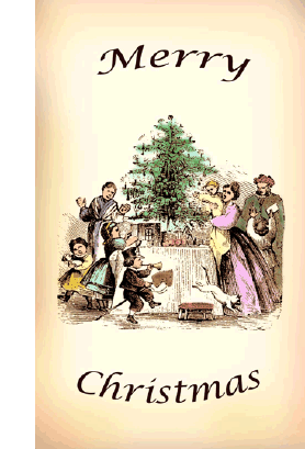 Victorian Family Christmas Card Greeting Card