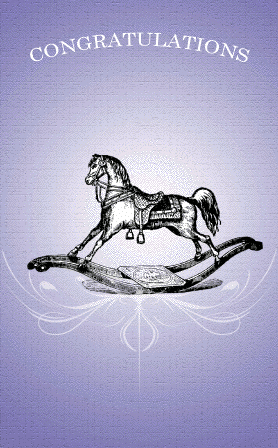 Victorian Rocking Horse Congratulations Card Greeting Card
