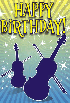 Violins Birthday Card Greeting Card