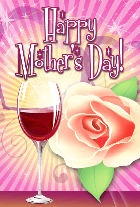 Wine and Rose Mother's Day Card Greeting Card