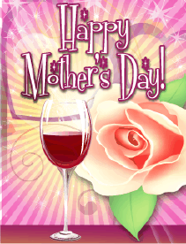Wine and Rose Small Mother's Day Card Greeting Card