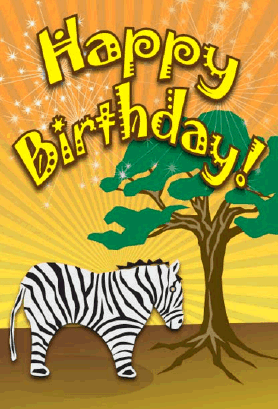 Zebra Birthday Card Greeting Card