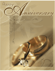 Anniversary Card with Gold Rings (small) Greeting Card