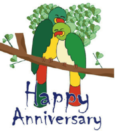 Anniversary Card with Lovebirds (small) Greeting Card
