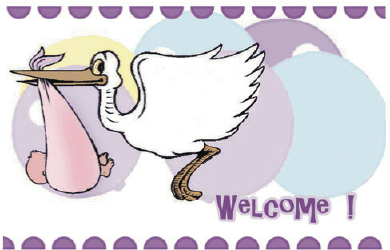 Baby Shower Card with Stork Greeting Card