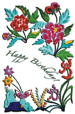 Birthday Card with Needlework Greeting Card