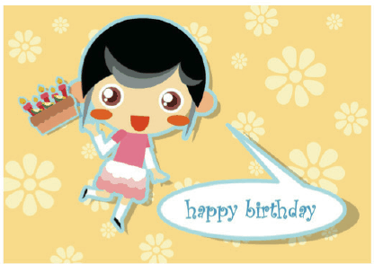 Birthday Card with Girl and Cake Greeting Card
