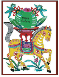 Birthday Card with Painted Horse (small) Greeting Card