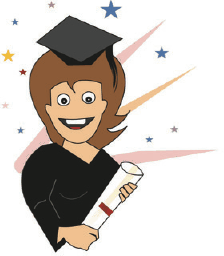 Graduation Card with Girl and Diploma (small) Greeting Card