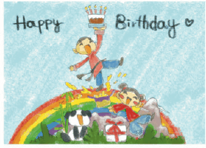 Birthday Card with Boy and Girl on a Rainbow (small) Greeting Card