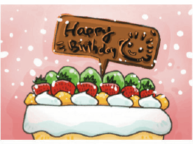 Birthday Card with Dessert (small) Greeting Card