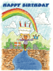 Birthday Card with Rainbow Cake (small) Greeting Card