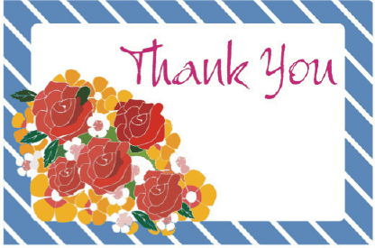 Thank You Card with Roses Greeting Card