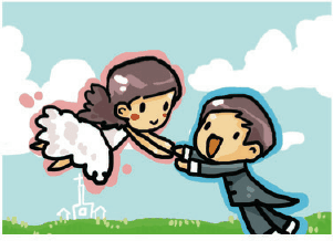 Wedding Card with Groom Swinging Bride (small) Greeting Card